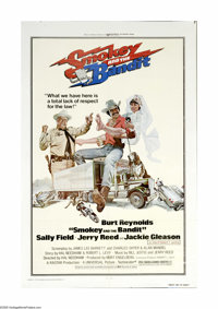 "Smokey and the Bandit (Universal, 1977). One Sheet (27"" X 41""). Burt Reynolds and his real life girlfriend of..."
