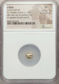 Ancients:Greek, Ancients: LYDIAN KINGDOM. Alyattes or Croesus (ca. 610-546 BC). EL1/12 stater or hemihecte (1.18 gm). NGC VF 5/5 - 4/5....