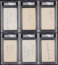 Autographs:Index Cards, Baseball Greats Signed Index Card Lot of 6, PSA/DNA Encapsulated.....