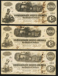 Confederate Notes, T40 $100 1862 PF-1 Cr. 298 (2); Cr. 300.. ... (Total: 3 notes)