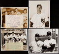 Baseball Collectibles:Photos, Joe DiMaggio Type I Photograph Lot of 4 with Gehrig, Mantle, andOthers.. ...