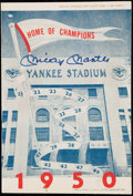 Baseball Collectibles:Programs, Mickey Mantle Signed 1950 Yankees Scorecard.. ...