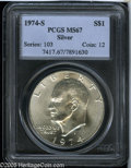 Eisenhower Dollars: , 1974-S $1 Silver MS67 PCGS. ...