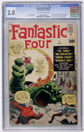 Silver Age (1956-1969):Superhero, Fantastic Four #1 (Marvel, 1961) CGC GD 2.0 Off-white to white pages....