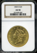 Liberty Double Eagles: , 1858-S $20 AU58 NGC. Sharply struck and fully lustrous withexcellent aesthetic appeal. This is an important issue, coined ...