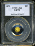 California Fractional Gold: , 1872 25C Indian Octagonal 25 Cents, BG-791, R.3, MS64 PCGS. ...
