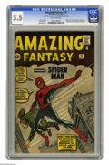 Silver Age (1956-1969):Superhero, Amazing Fantasy #15 (Marvel, 1962) CGC FN- 5.5 Off-white pages. It doesn't get much better than this for Silver Age fans -- ...