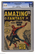 Silver Age (1956-1969):Superhero, Amazing Fantasy #15 (Marvel, 1962) CGC GD/VG 3.0 Off-white pages. It all starts here, true believers: the origin and first a...
