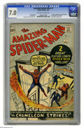 Silver Age (1956-1969):Superhero, The Amazing Spider-Man #1 (Marvel, 1963) CGC FN/VF 7.0 Off-white towhite pages. Here's the first issue of what has become t...