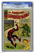 Silver Age (1956-1969):Superhero, The Amazing Spider-Man #5 (Marvel, 1963) CGC VF+ 8.5 Off-whitepages. Doctor Doom made his first appearance outside of the ...