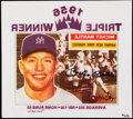 Autographs:Others, Mickey Mantle Signed 1956 Triple Crown Decal.. ...