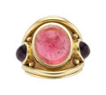 Estate Jewelry:Rings, Pink Tourmaline, Amethyst, Gold Ring, Denise Roberge