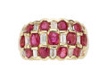Estate Jewelry:Rings, Ruby, Diamond, Gold Ring The ring features ova...