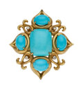 Estate Jewelry:Rings, Turquoise, Diamond, Gold Ring, Donald Huber Th...