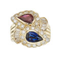Estate Jewelry:Rings, Ruby, Sapphire, Diamond, Gold Ring The bypass ...