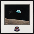 "Explorers:Space Exploration, James Lovell Signed Large Apollo 8 ""Earthrise"" Color Photo with Novaspace Certificate of Authenticity, in Framed Display. ..."
