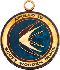 Apollo 15 Flown 14K Gold Mission Insignia Medallion Presented by Dave Scott, with Original Certificate of Authenticity.&...