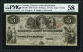 Canadian Currency, Canada Toronto, UC- Farmers' Joint Stock Bank $5=25 Shillings Feb. 1, 1849 Ch. # 280-12-06.. ...