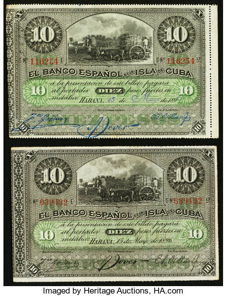 World Currency Cuba Banco Espanol De La Isla 10 Pesos 2