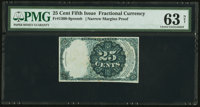 Fr. 1308-9 Fifth Issue 25¢ Narrow Margin Back Proof PMG Choice Uncirculated 63 Net
