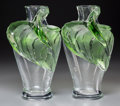 Art Glass:Lalique, Pair of Lalique Clear and Green Glass Tanega Vases.Post-1945. Ht. 14 in.. ... (Total: 2 Items)