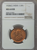 India:British India, India: British India. George V 1/4 Anna NGC Certified 8 Coin Lot,... (Total: 8 coins)