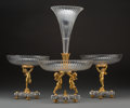Decorative Arts, French:Other , A Three-Piece Baccarat Gilt Bronze and Cut-Glass Figural TableGarniture, late 19th century. Marks to base: BACCARAT, (l...(Total: 6 Items)