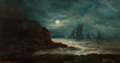 Fine Art - Painting, American, Frederick Rondel Jr. (American, b. 1855). NocturnalSeascape, 1889. Oil on canvas. 16 x 30 inches (40.6 x 76.2 cm).Sign...