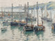 Guy Carleton Wiggins (American, 1883-1962) Herring Boats at Anchor, circa 1914 Oil on board 12 x 15-3/4 inches (30.5