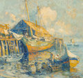 Fine Art - Painting, American, Arthur Vidal Diehl (American, 1870-1929). Harbor Scene,Provincetown. Oil on board. 13-1/2 x 14-1/2 inches (34.3 x 36.8...