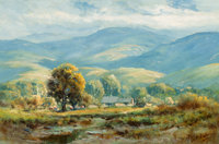 Manuel Valencia (American, 1856-1935) California Ranch Oil on canvas 11-3/4 x 17-3/4 inches (29.8