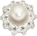 Estate Jewelry:Rings, South Sea Cultured Pearl, Diamond, Platinum Ring, Ruser, R...