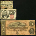 Confederate Notes, T69 $5 1864 PF-1 Cr. 558 Fine;. Fr. 1226 3¢ Third Issue Good;. Fr. 1266 10¢ Fifth Issue VF.. ... (Total: 3 notes)