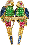 Estate Jewelry:Brooches - Pins, Diamond, Multi-Stone, Gold Brooch, Wempe. ...