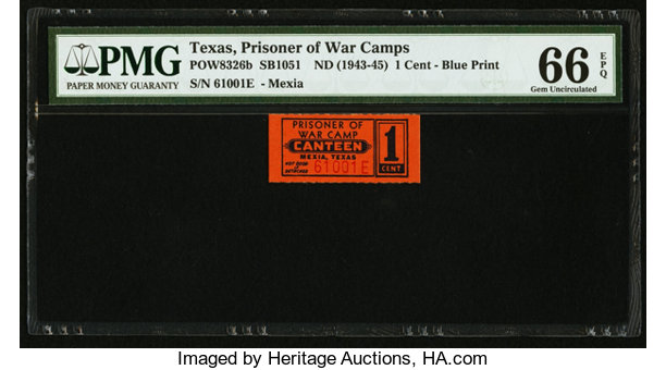Prisoner Of War Camp Chit Mexia TX 1 Cent ND 1943 45