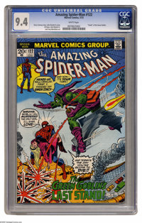 The Amazing Spider-Man #122 (Marvel, 1973) CGC NM 9.4 White pages. The Green Goblin died in this issue, in a scene repro...