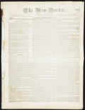 Miscellaneous:Other, The New-Yorker Newspaper Saturday April 23, 1836 with AlamoReference.. ...