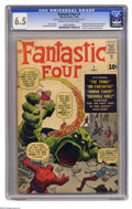Silver Age (1956-1969):Superhero, Fantastic Four #1 (Marvel, 1961) CGC FN+ 6.5 Cream to off-whitepages. You've seen the movie, you've played the video game, ...