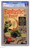 Silver Age (1956-1969):Superhero, Fantastic Four #1 (Marvel, 1961) CGC VG/FN 5.0 Off-white pages. Thecomic book that changed comic books forever, this is the...