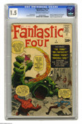 Silver Age (1956-1969):Superhero, Fantastic Four #1 (Marvel, 1961) CGC FR/GD 1.5 Off-white to white pages. Where were you in the summer of '61? Chances are, i...