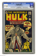 Silver Age (1956-1969):Superhero, The Incredible Hulk #1 (Marvel, 1962) CGC VF- 7.5 Light tan tooff-white pages. This series was the second Silver Age Marvel...