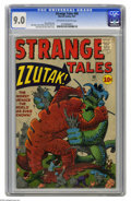 "Silver Age (1956-1969):Horror, Strange Tales #88 (Marvel, 1961) CGC VF/NM 9.0 Off-white to whitepages. ""Zzutak, The Thing That Shouldn't Exist"" was one of..."