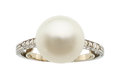 Estate Jewelry:Rings, Art Deco Natural Saltwater Pearl, Diamond, Platinum Ring
