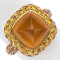 Estate Jewelry:Rings, Citrine, Orange Sapphire, Gold Ring, Craig Drake. ...