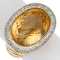 Estate Jewelry:Rings, Citrine, Diamond, Gold Ring. ...