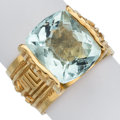 Estate Jewelry:Rings, Aquamarine, Gold Ring, Yahn. ...