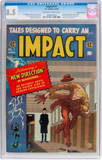 Impact #1 Gaines File Pedigree 11/12 (EC, 1955) CGC VF+ 8.5 Off-white to white pages
