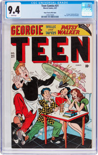Teen Comics #21 Mile High Pedigree (Marvel, 1947) CGC NM 9.4 White pages