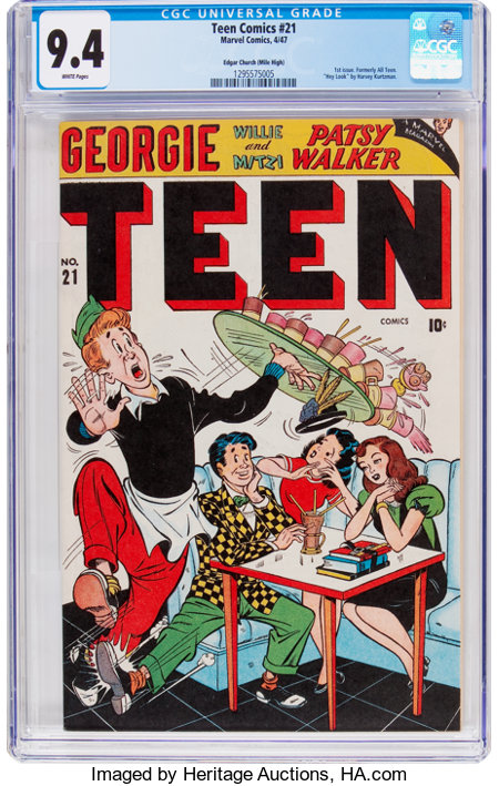 Teen Comics #21 Mile High Pedigree (Marvel, 1947) CGC NM 9.4 White pages....