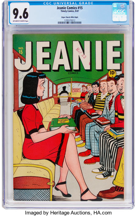 Jeanie Comics #15 Mile High Pedigree (Marvel/Atlas, 1947) CGC NM+ 9.6 Off-white to white pages....